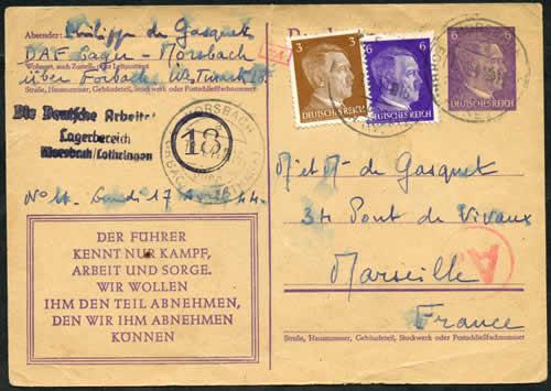 Histoire postale des territoires fran ais annex s 1940 45 for Code postal forbach