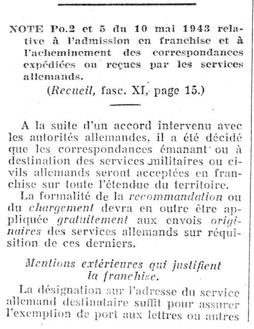 Courrier des militaires allemands en France