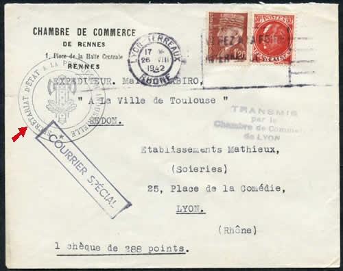 Histoire postale du courrier interzones 1940 1944 for Chambre de commerce de rennes