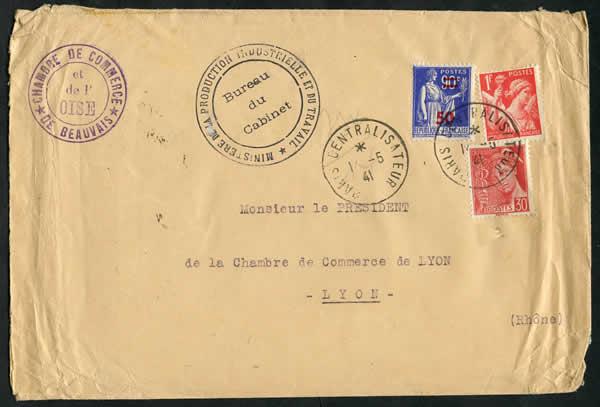Histoire postale du courrier interzones 1940 1944 for Chambre de commerce lyon
