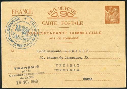 Histoire postale du courrier interzones 1940 1944 - Chambre de commerce de villefranche ...