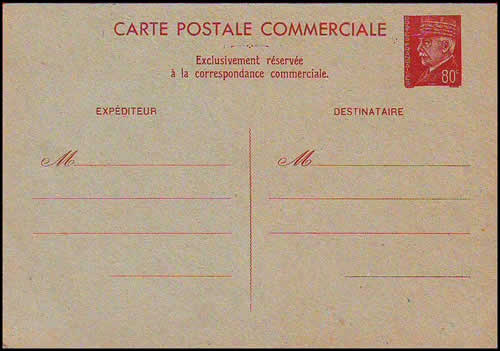 Carte interzone Commerciale à 80c