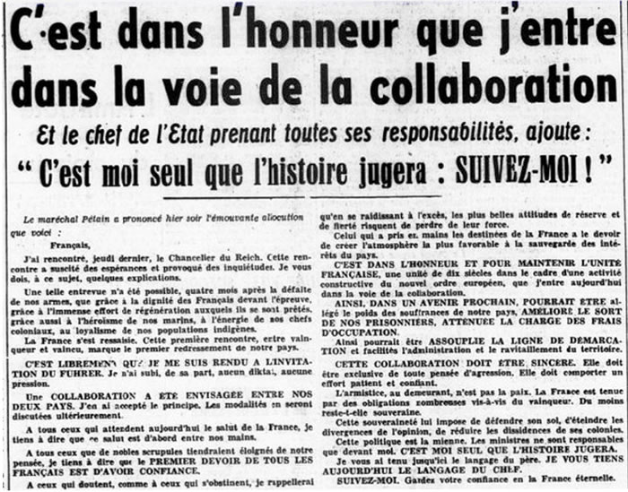 Pétain rentre en collaboration