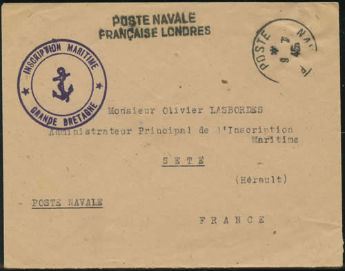 Lettre de l'Inscription maritime en GB