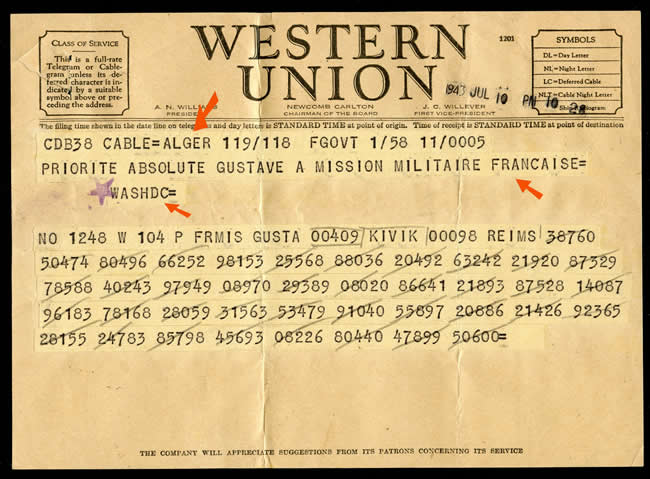 Message codé d'Alger vers washington via Western Union