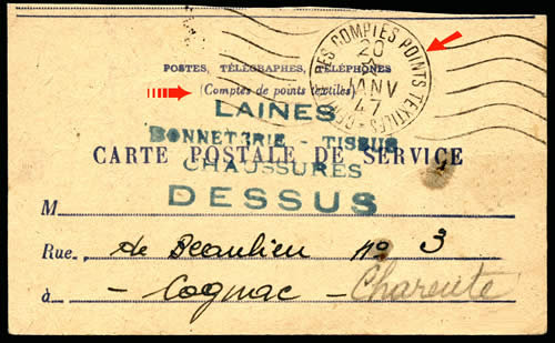 carte de Service des Points textiles