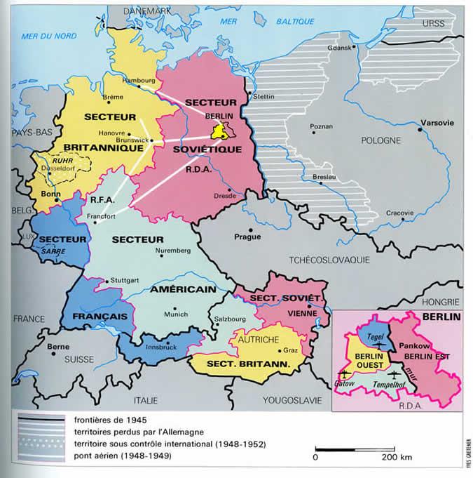 Carte Occupation Allemagne 1945.Gestion Alliee De L Allemagne Apres La Victoire
