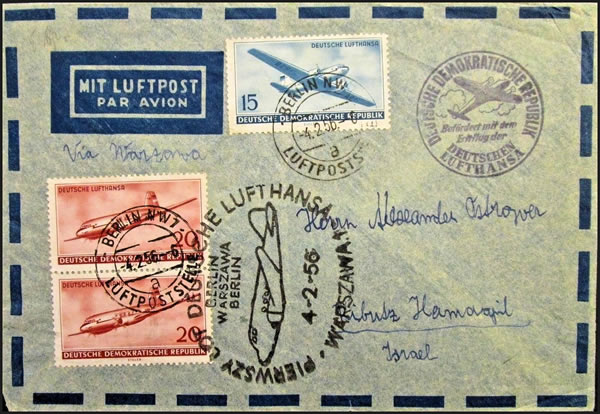 1er vol Berlin-Varsovie-Berlin par la Lufthansa(DDR)