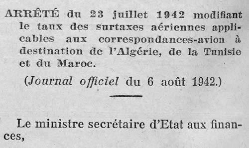 Surtaxes aériennes AFN 23 juillet 1942