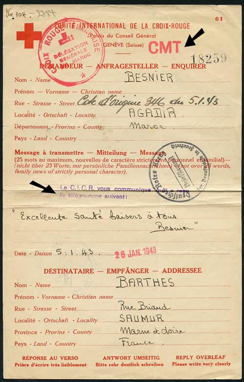 Meassage Croix-Rouge télégraphié de agadir pour saumur