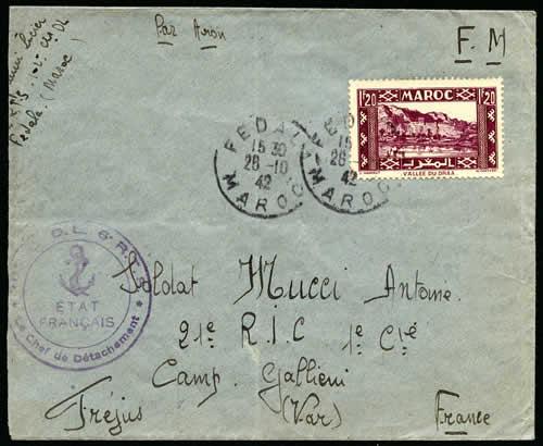Griffe ETAT FRANCAIS sur lettre en Franchise