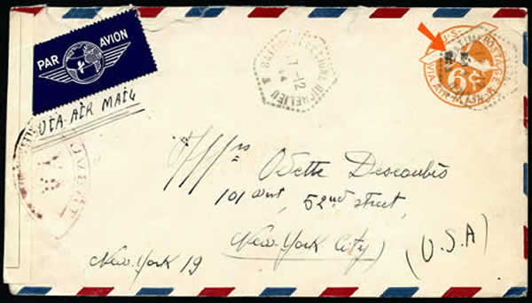 Entier postal US avec griffe RF de Casablanca