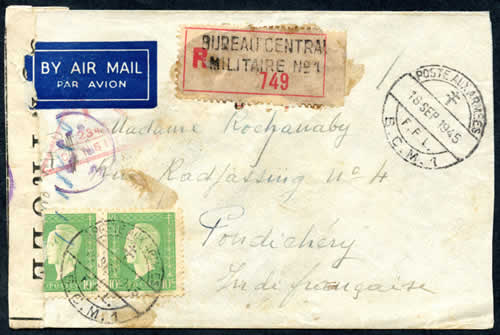 Lettre Beyrouth pour Pondichery 1946