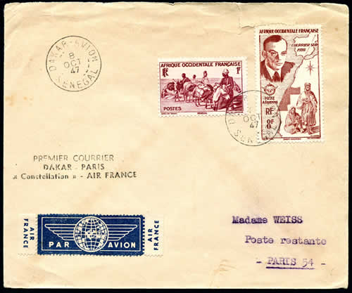 Premier courrier Dakar Paris