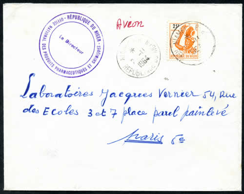 Courrier officiel timbres du Niger