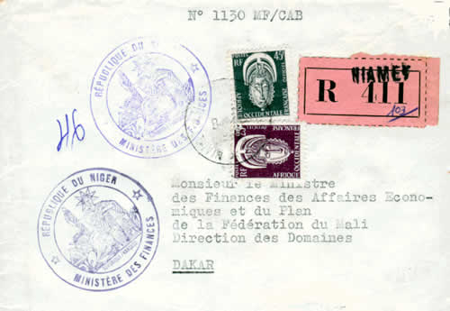 Courrier officiel timbres service AOF