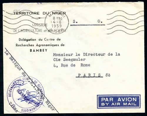 Courrier Officiel Territoire du Niger 1959