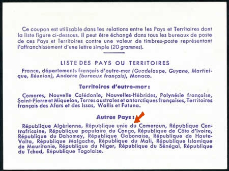 Verso coupons-réponses