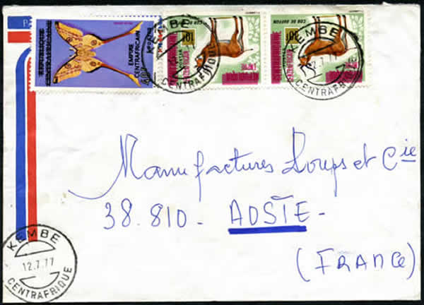 Timbres Empire Centrafricain sur lettre