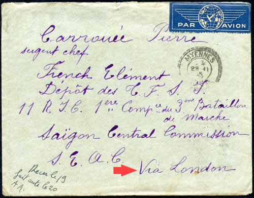 Courrier de France via Londres