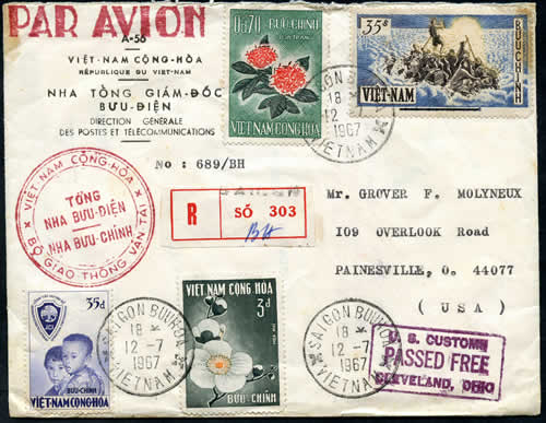 Timbres Operation Fraternite sur lettre